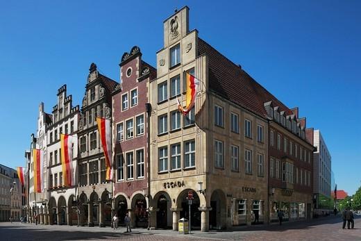 Stock Photo: 1841-78815 Gable houses on Prinzipalmarkt, Muenster, Germany