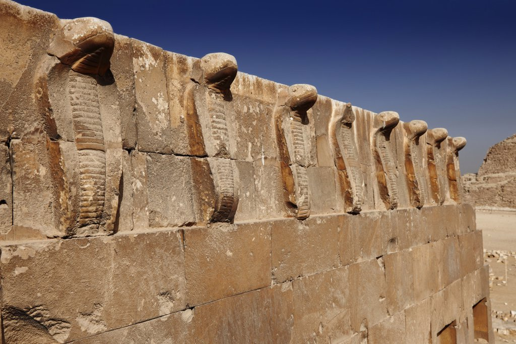 South tomb with frieze at the step pyramid of Djoser, Saqqara, Egypt : Stock Photo