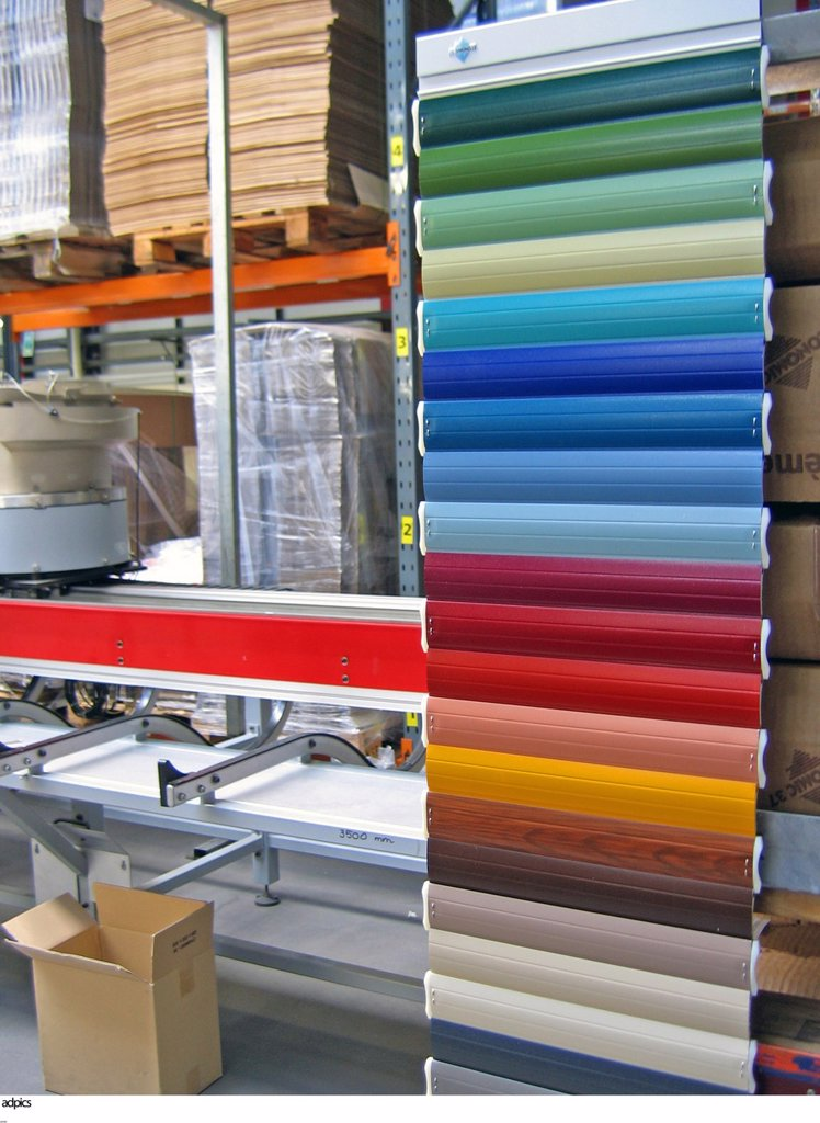 Palette of various colorful samples inside factory : Stock Photo