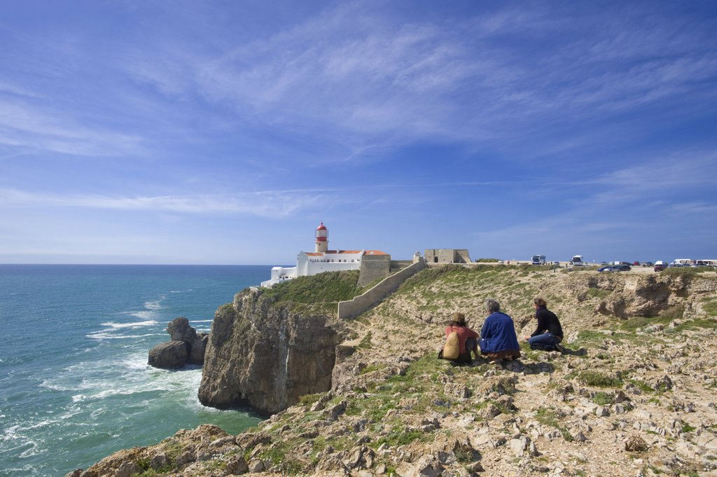Lighthouse at the Cabo de Sao Vicente, Algarve, Portugal : Stock Photo