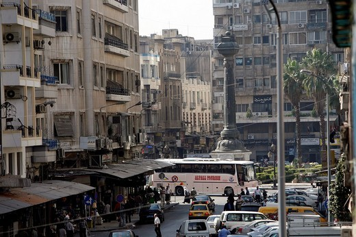 Busy crossroads in the inner city of Damascus, Syria, elevated view : Stock Photo