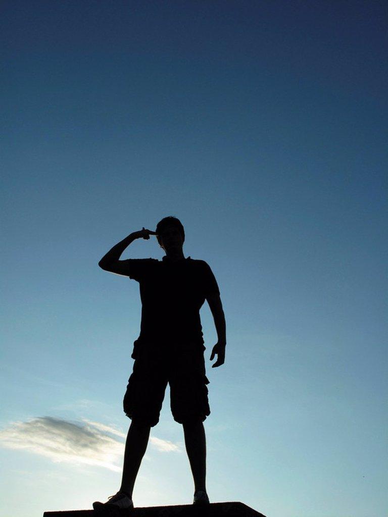 Schwarze Silhouette eines Mannes : Stock Photo