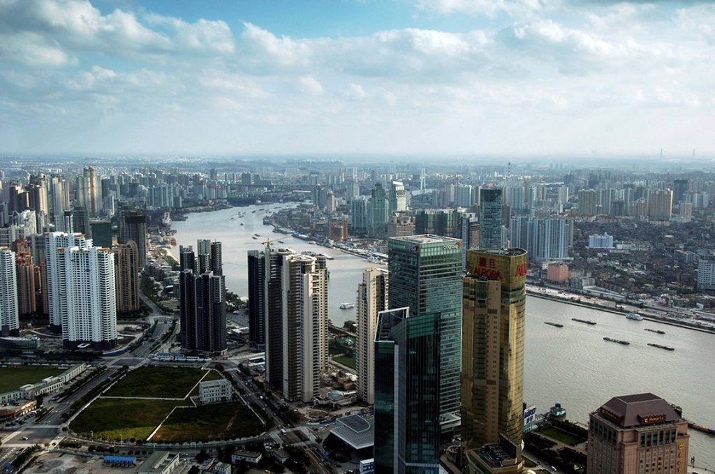 View from the Oriental Pearl Tower with the river Huangpu in the foreground, Shanghai, China : Stock Photo