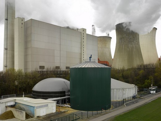 Biogas plant, Grevenbroich, Germany, elevated view : Stock Photo
