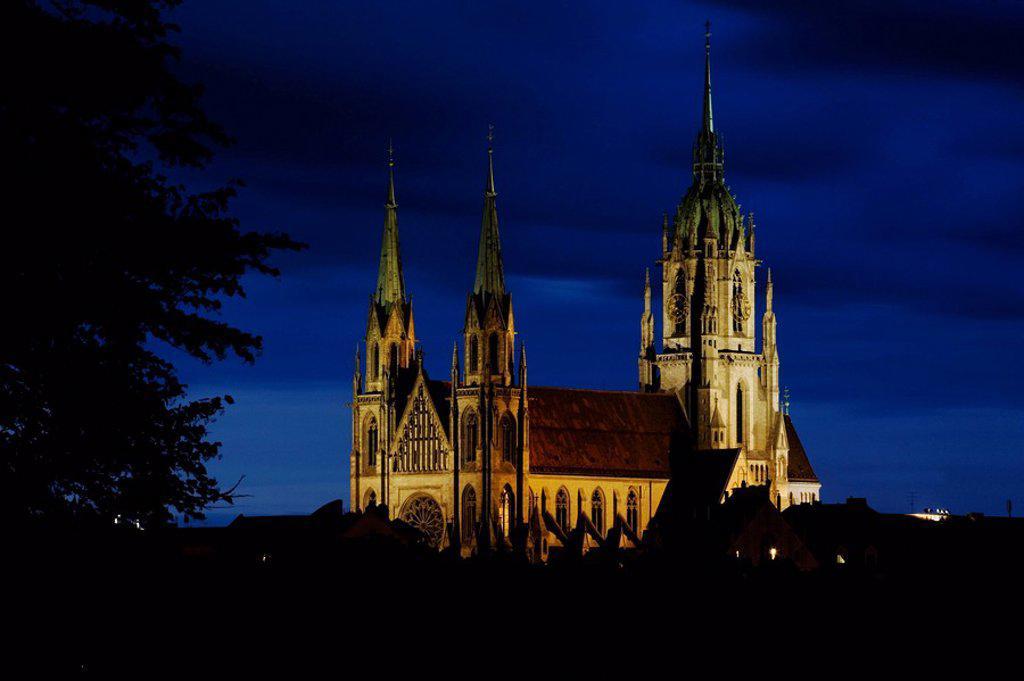 Church at night, St. Paul´s Church, Munich, Bavaria, Germany : Stock Photo