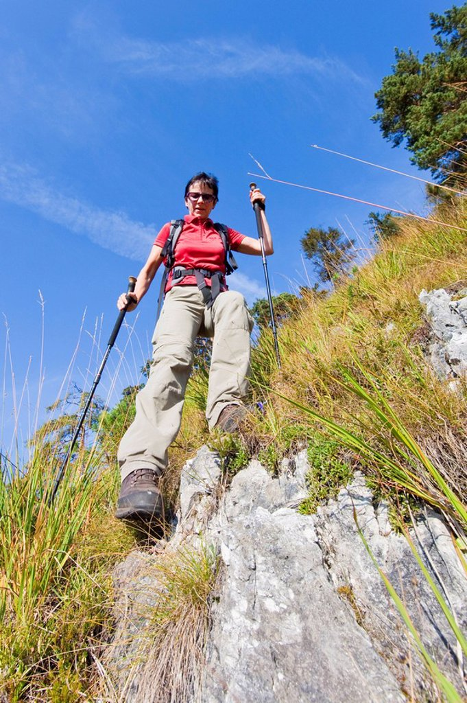 Woman hiking at Untersberg, Bavaria, Germany : Stock Photo