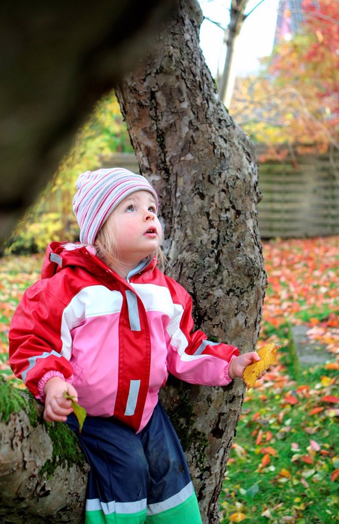 Girl in garden in autumn : Stock Photo