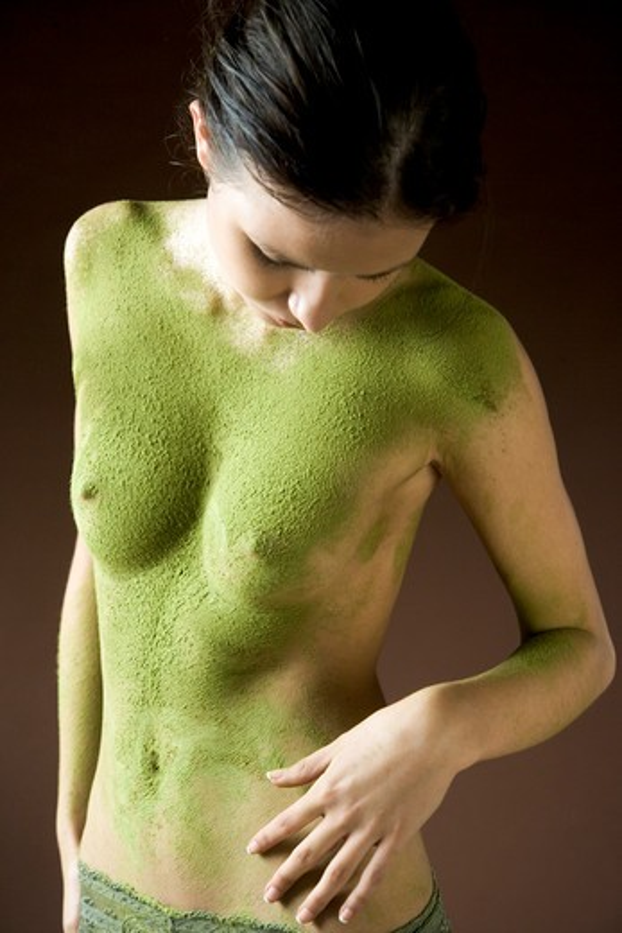 Green tea mask : Stock Photo