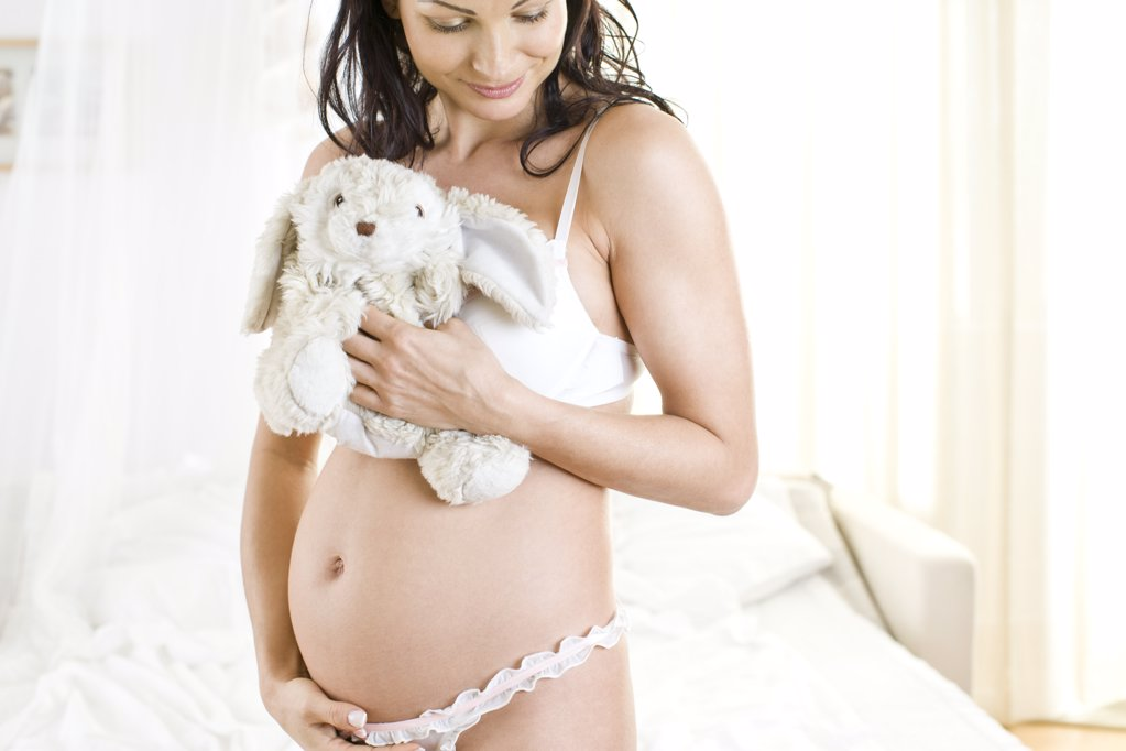 pregnant woman with teddy bear : Stock Photo