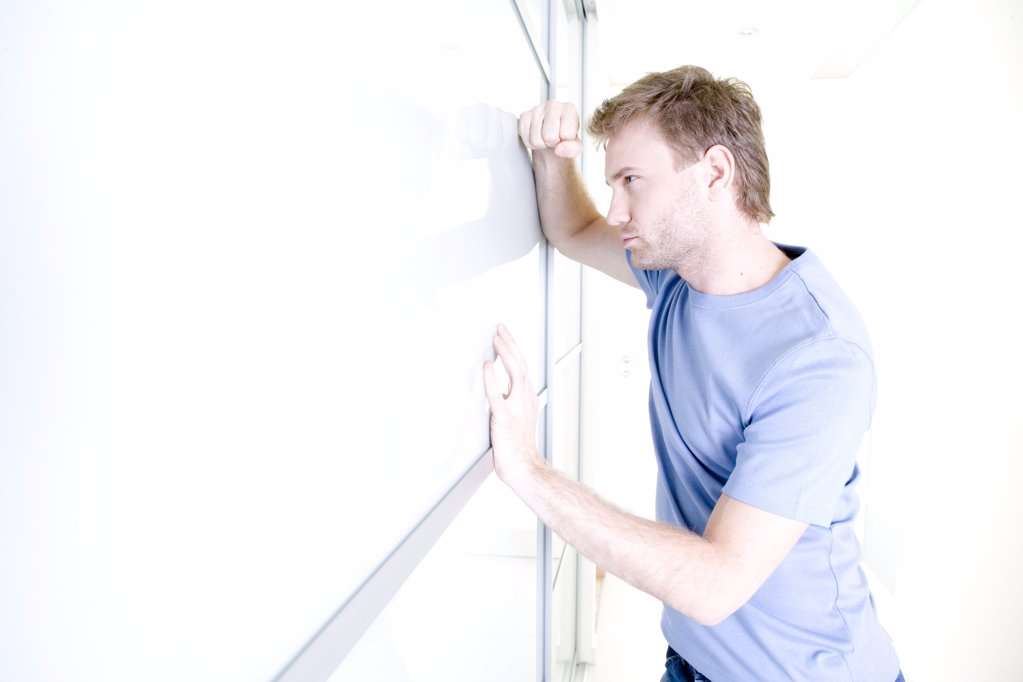 man standing in hall : Stock Photo