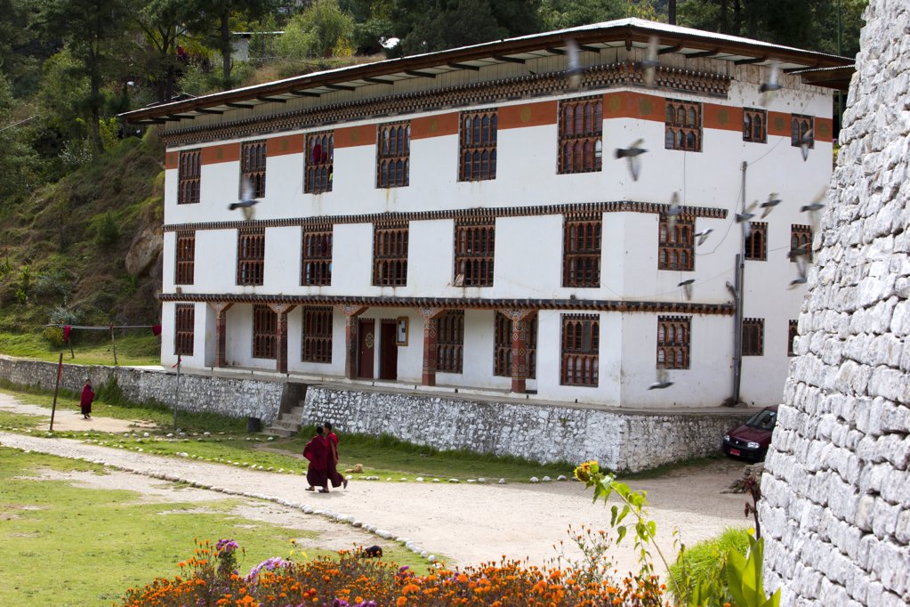 Stock Photo: 1841R-113783 Monks school in Thimphu, Bhutan