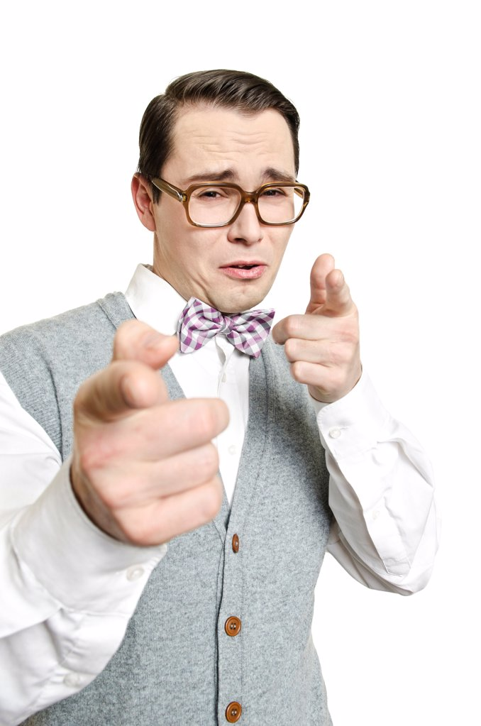 Stock Photo: 1841R-121810 Man with glasses gesturing
