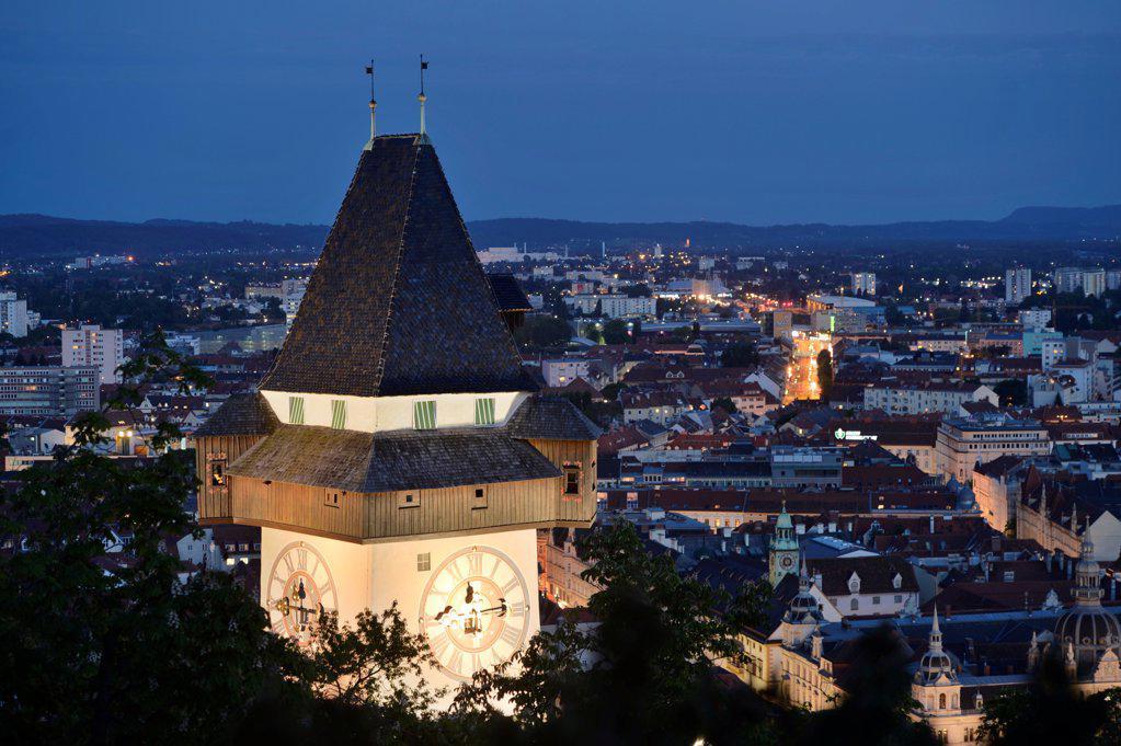 Stock Photo: 1841R-124864 Clock tower, Schlossberg, Graz, Styria, Austria, Europe