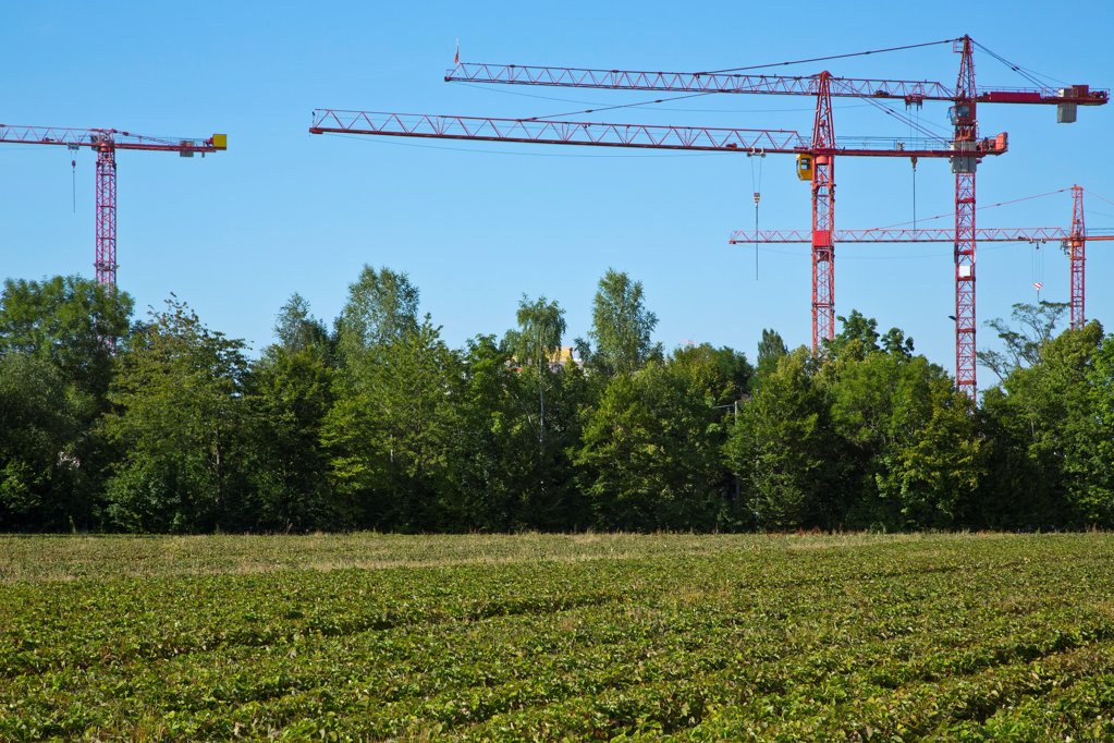 Stock Photo: 1841R-124889 Cranes on a construction site near a field