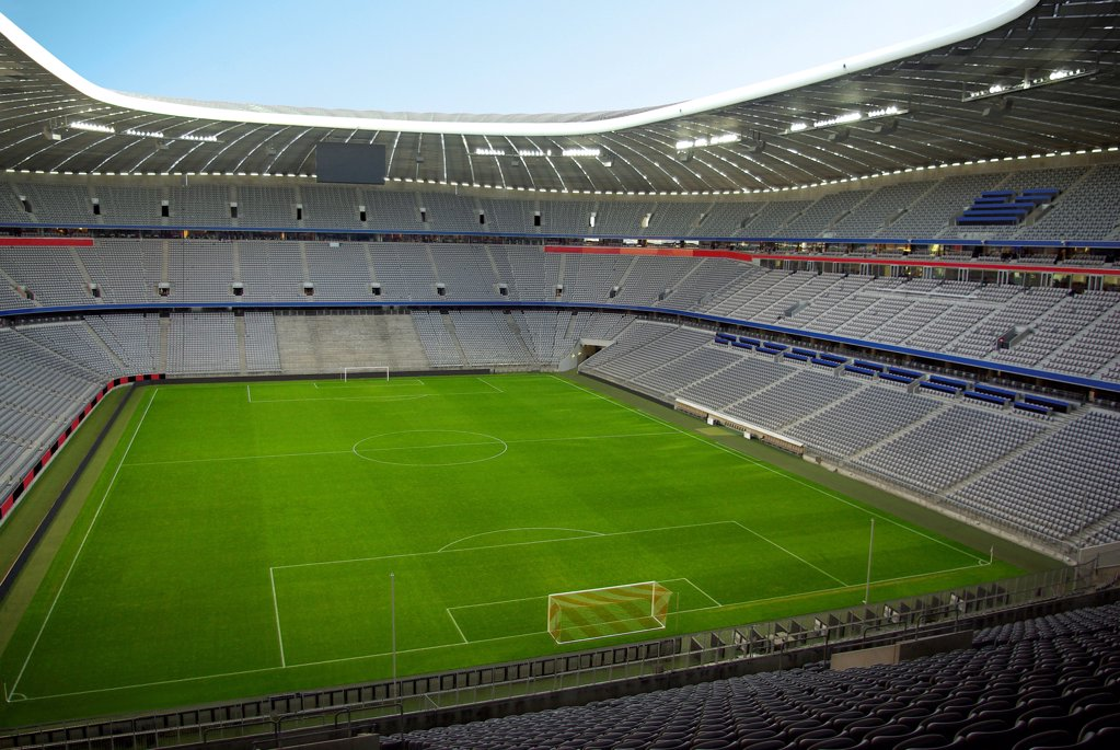 Empty Allianz Arena, Munich, Bavaria, Germany : Stock Photo