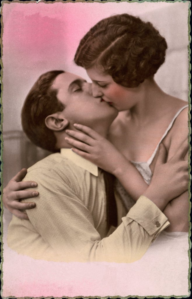 Stock Photo: 1841R-124918 Historical picture of a couple kissing