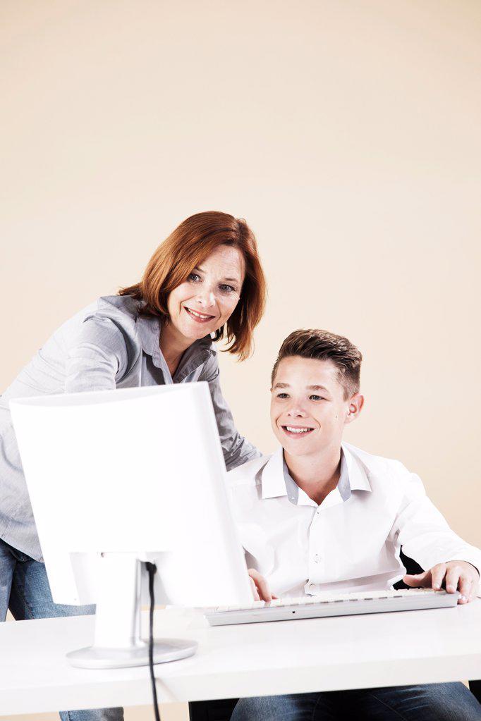 Teenage boy having a job interview : Stock Photo