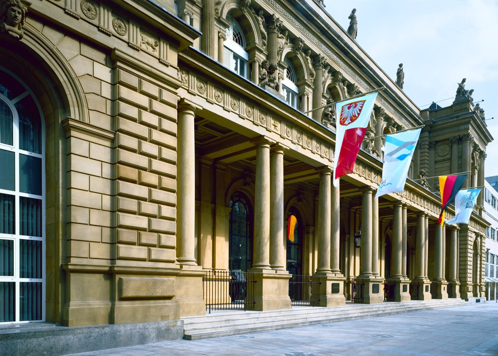 Stock Photo: 1841R-125157 Entrance of the Stock Exchange Frankfurt, Germany