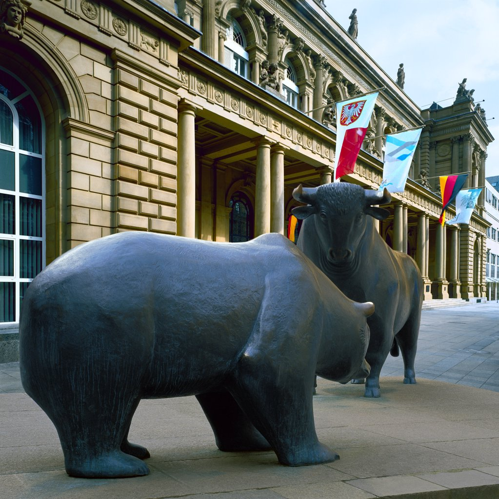 Stock Photo: 1841R-125158 bull and bear, Stock Exchange Frankfurt, Germany