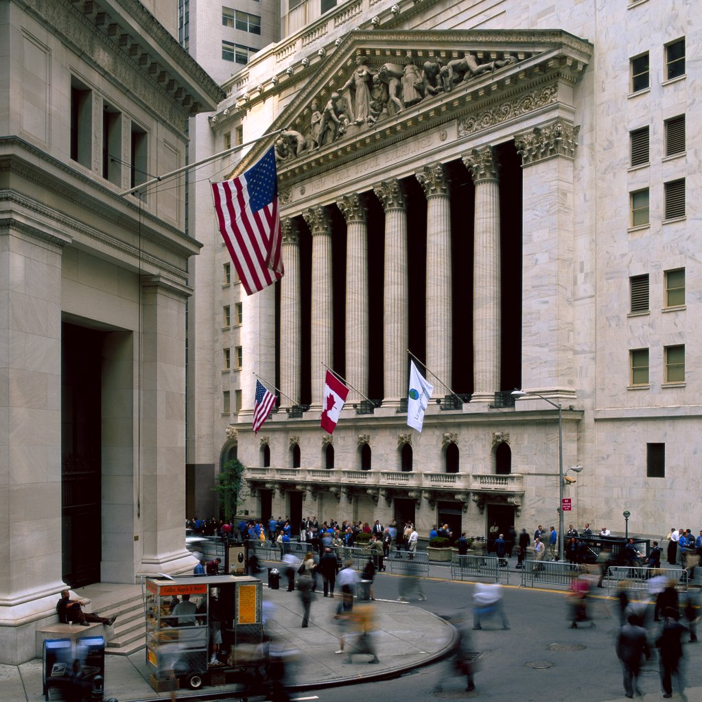 Stock Photo: 1841R-125159 Front of the New York Stock Exchange, USA