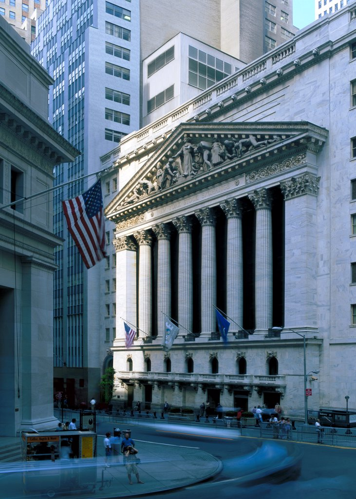 Stock Photo: 1841R-125160 Front of the New York Stock Exchange, USA