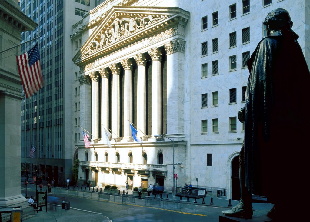 Stock Photo: 1841R-125161 The Front of the New York Stock Exchange