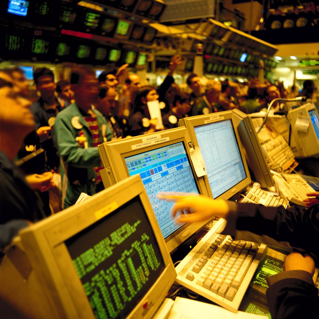 Stock Photo: 1841R-125162 Stockbrokers at the New York Stock Exchange, USA
