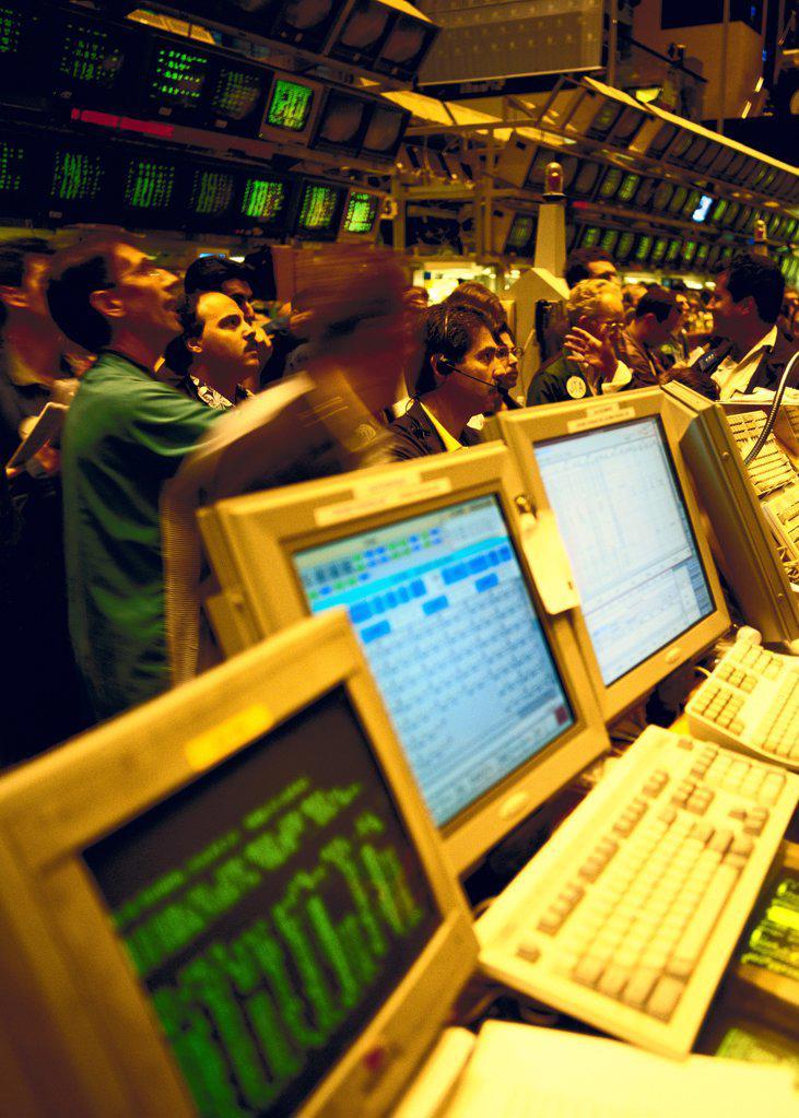 Stock Photo: 1841R-125163 Tradingfloor, American Stock Exchange