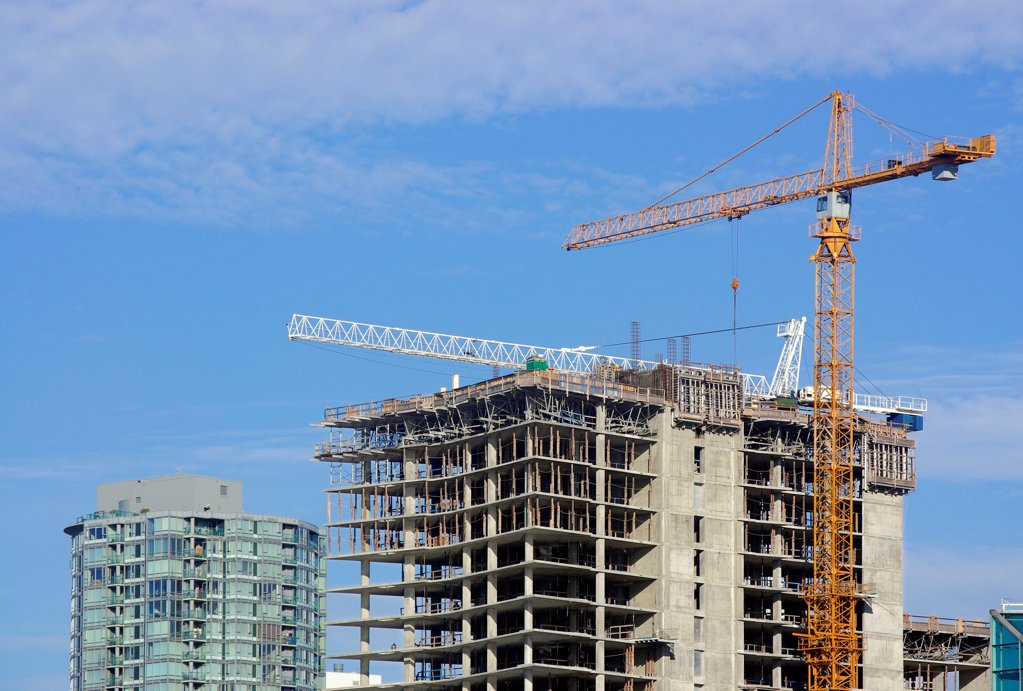 Stock Photo: 1841R-125178 Construction site in Downtown Vancouver, British Columbia, Canada
