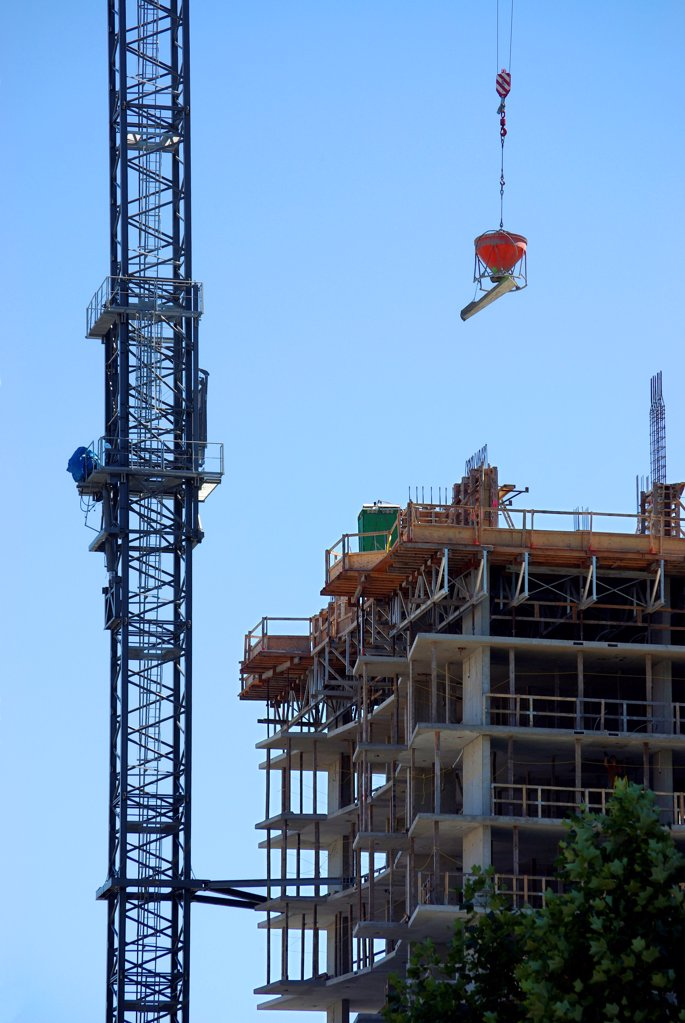Stock Photo: 1841R-125186 Construction site in Downtown Vancouver, British Columbia, Canada