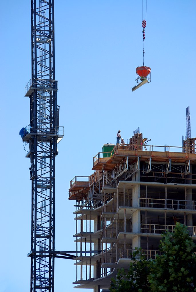 Stock Photo: 1841R-125187 Construction site in Downtown Vancouver, British Columbia, Canada