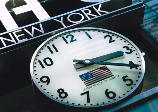 Clock on railroad station, Grand Central Station, New York City, New York State, USA : Stock Photo