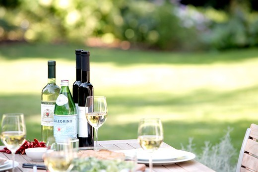 Lunch served on table with wine : Stock Photo