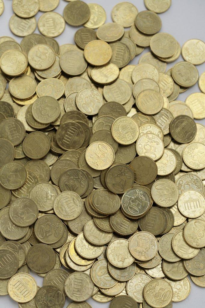 Eine Menge 50 Cent St¸cke : Stock Photo