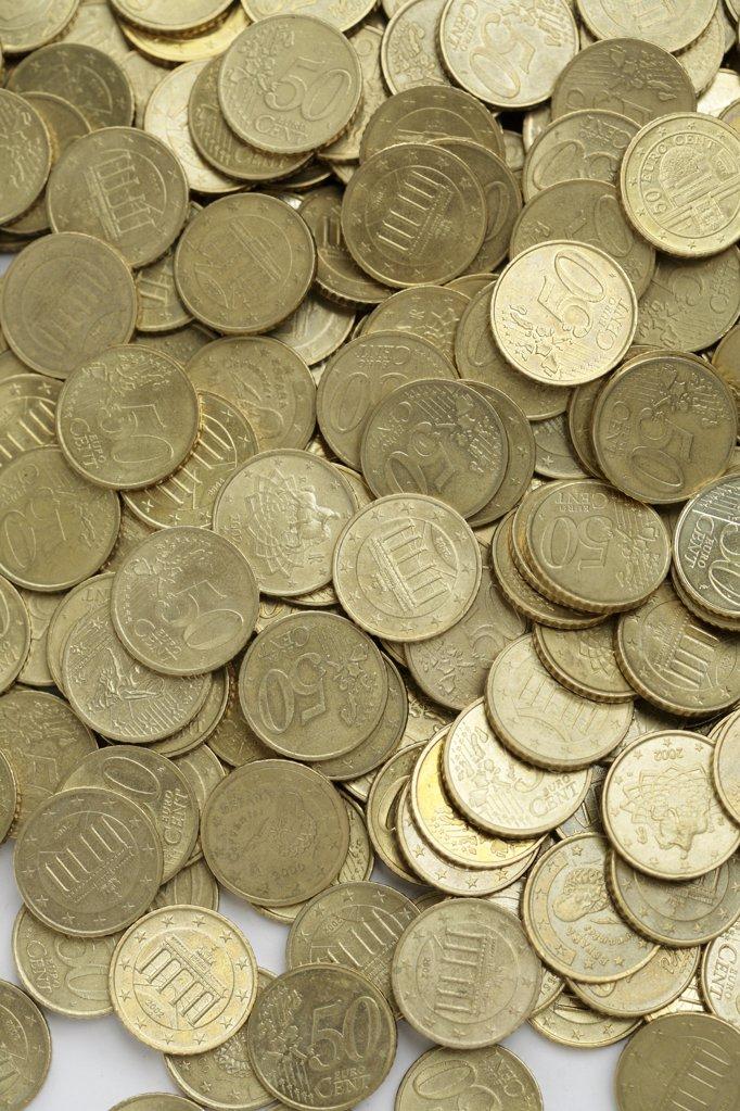 Stock Photo: 1841R-82964 Ein Haufen 50 Cent St¸cke