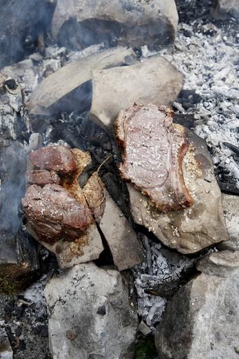 Verschiedene Fleischst¸cke liegen auf Steinen an einem Lagerfeuer : Stock Photo