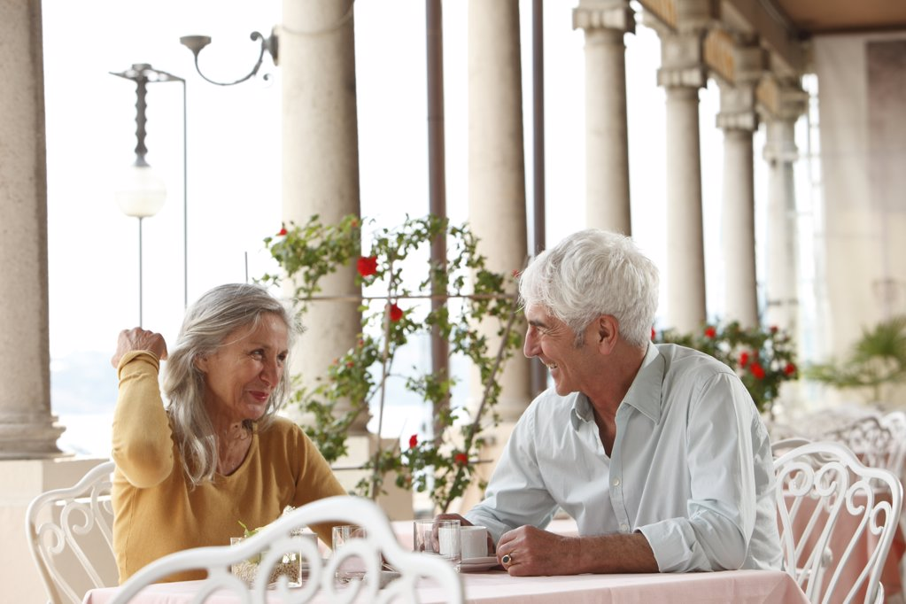 Senior couple in a restaurant, Italy : Stock Photo
