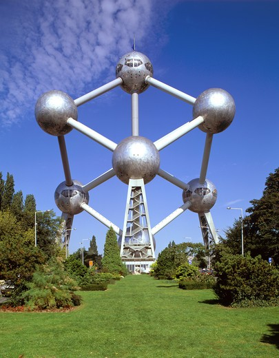 Atomic chrome sculpture in park : Stock Photo