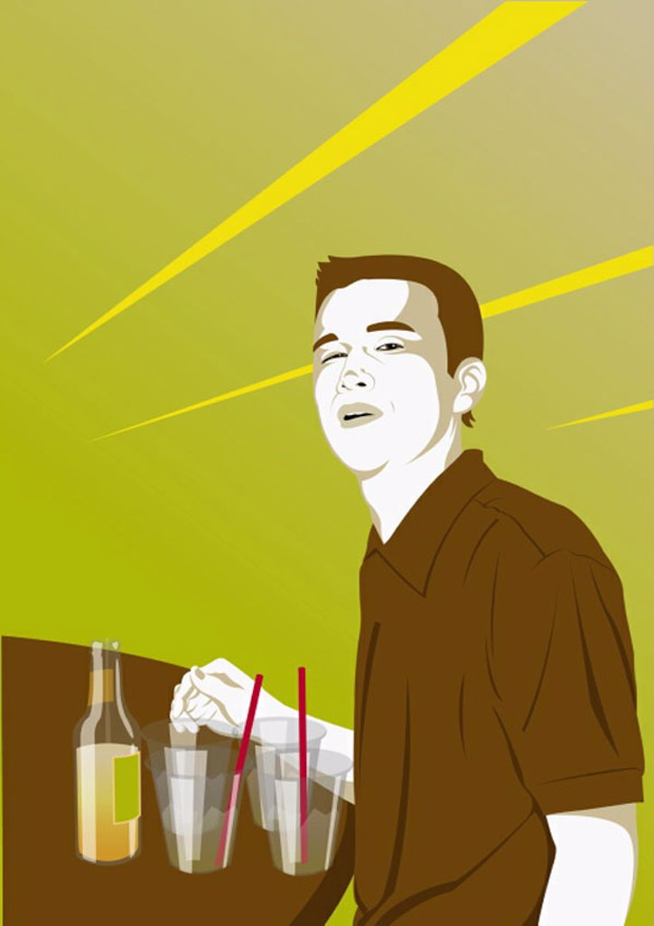 Young man standing at the bar with drinks : Stock Photo