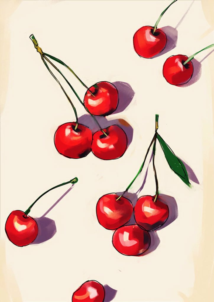 Several cherries on a tabletop : Stock Photo