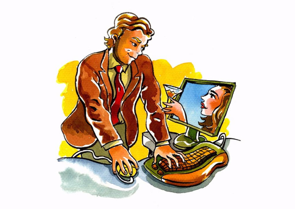 Business man looking at woman offering him a drink from the computer : Stock Photo