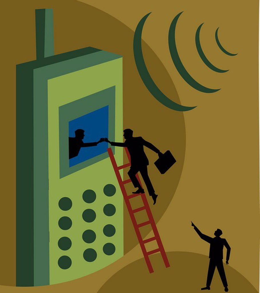 Stock Photo: 1843R-1156 Person climbing ladder to reach the screen of a cellphone