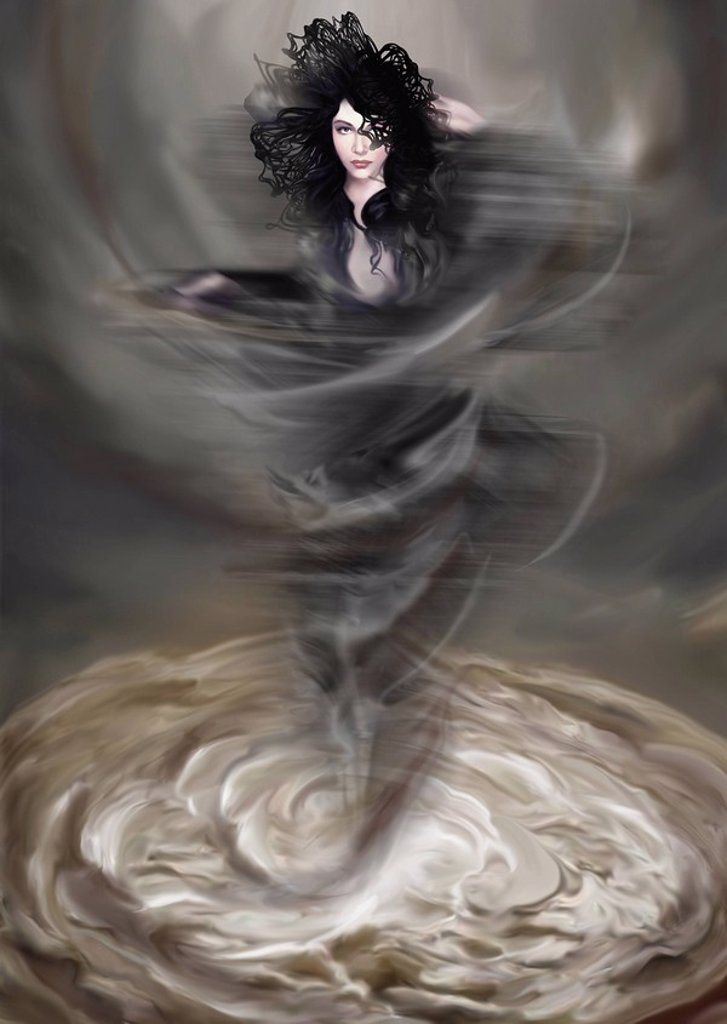 Woman materializing from a swirl of liquid : Stock Photo