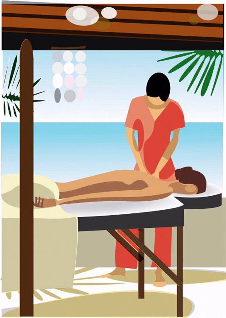 Woman enjoying a massage at a spa : Stock Photo