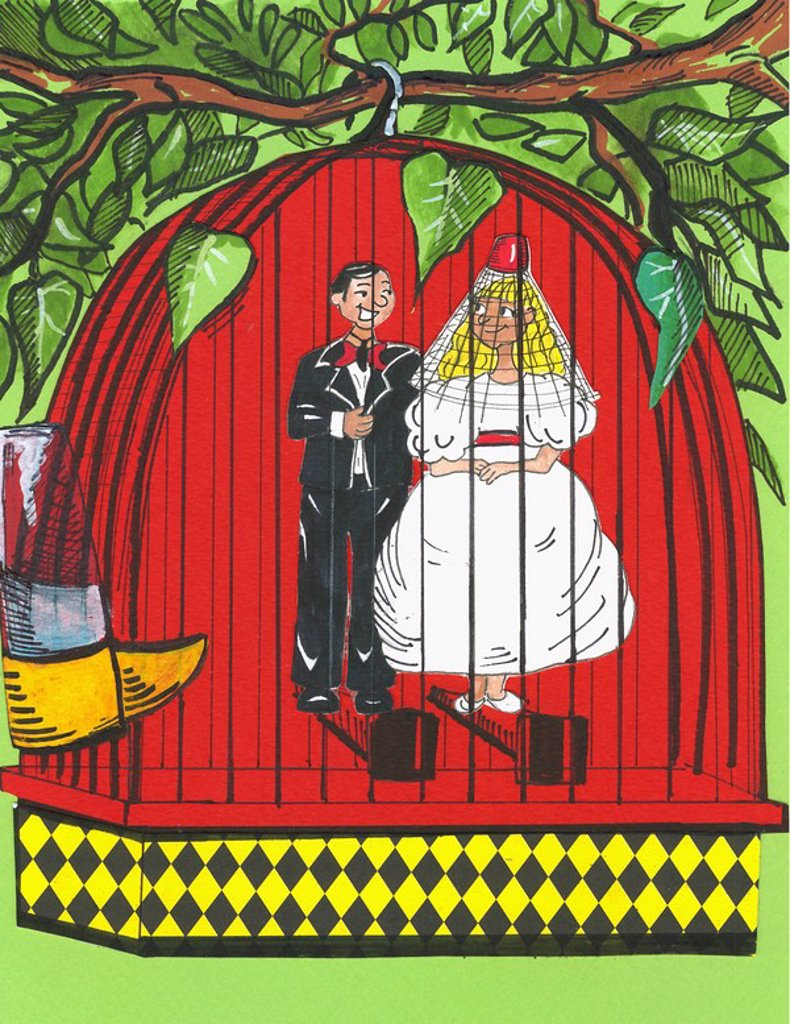 Stock Photo: 1843R-1361 Couple getting married in a bird cage