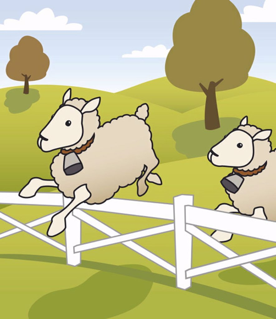 Stock Photo: 1843R-1362 Sheep jumping over fence