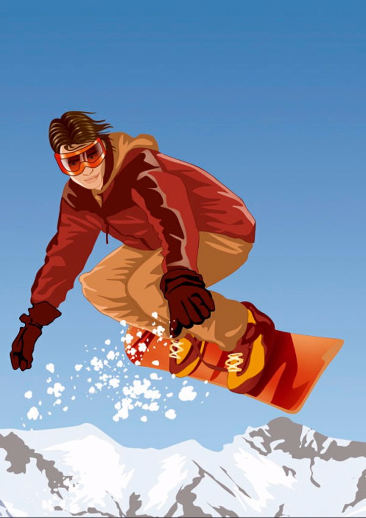 Stock Photo: 1843R-1472 Young man on his snowboard in the air
