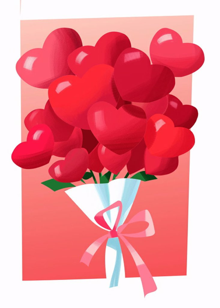 Stock Photo: 1843R-1548 A bouquet of heart flowers
