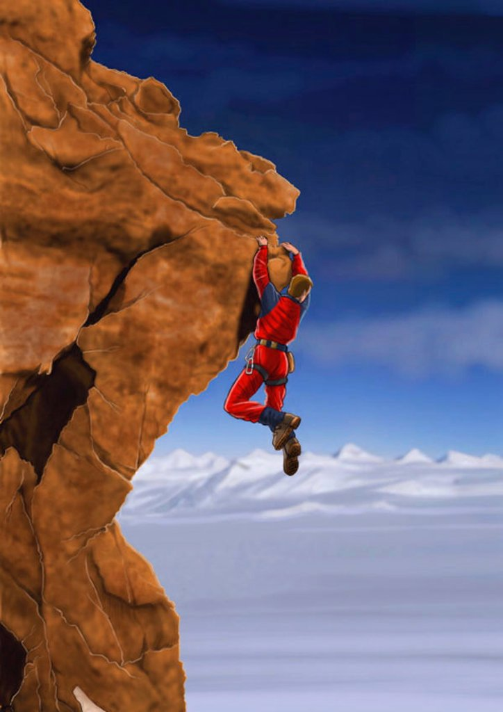 Rockclimber hanging off a cliff : Stock Photo