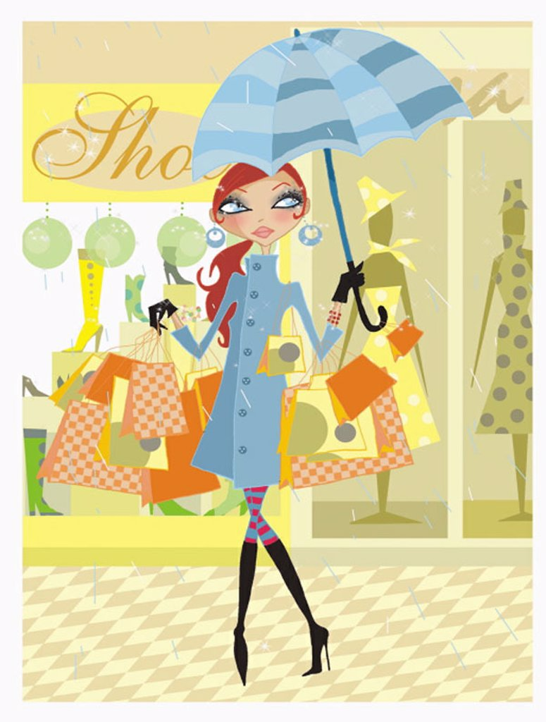 Woman holding umbrella in the rain with many shopping bags : Stock Photo